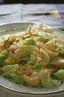 できました、ボロネオ料理(キャベツとエビの炒め物)