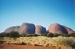 オルガ岩群ではドーム状の礫岩が並ぶ