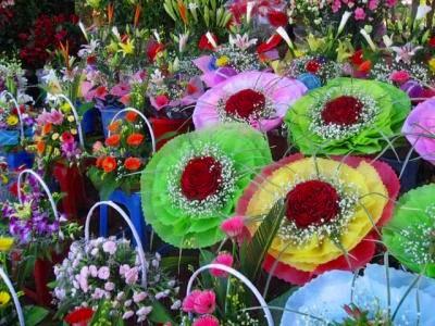 花市場を見学。綺麗な花がお安く手に入ります。