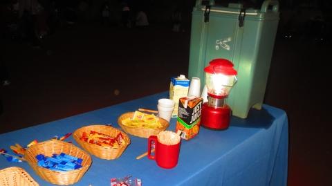 サンライズ会場には温かい飲み物のセルフサービスがあります