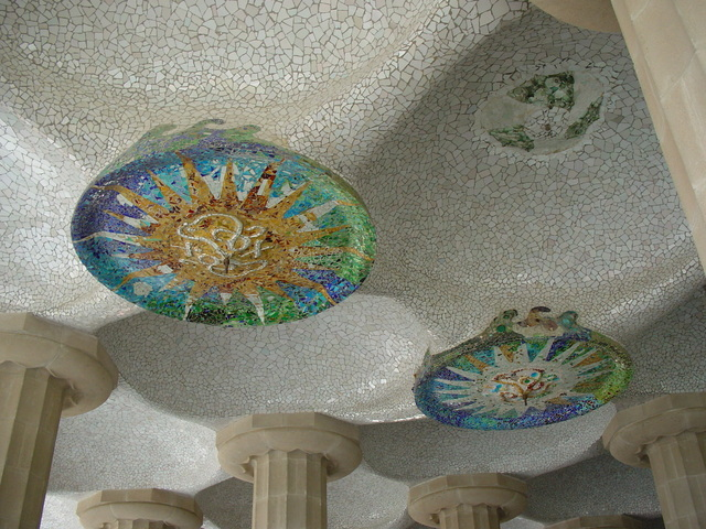 世界遺産グエル公園 天井のモザイク