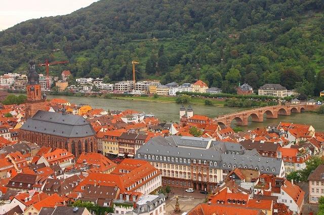 城から見下ろすアルトシュタット(旧市街)とネッカー川