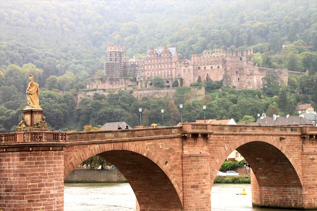 ハイデルベルク城とネッカー川にかかる古い橋アルテ・ブリュッケ