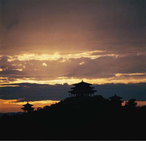 景山公園の夕陽