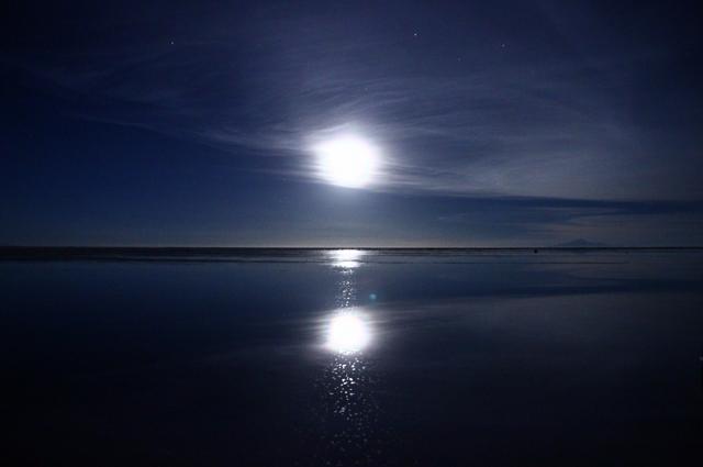 塩湖に沈む夕日