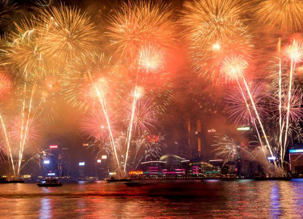 香港のカウントダウン花火