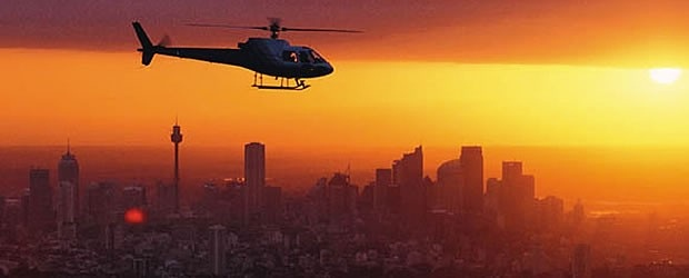 ヘリコプターで行く、シドニー大空の旅!! ロマンチックな夕日を見ながら