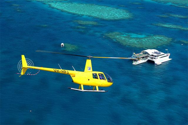 片道ヘリで行くリーフワールド(ハートリーフとホワイトヘブンビーチの上空を遊覧飛行) ハミルトン島発着