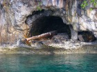 パラオの海に残る戦争時代の大砲は船上から見学