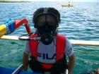 毒ガスマスクみたいですが・・・これで手軽に水中散策へ。