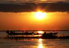 トンレサップ湖から夕日鑑賞