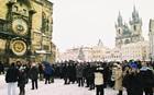 旧市庁舎の大時計とティン教会と旧市街広場