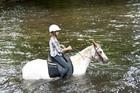馬と一緒に川の中へ!!!