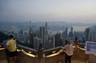 元旦の大都会香港を、高台から望む