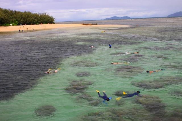 桟橋すぐ脇のビーチは人気のシュノーケルポイント