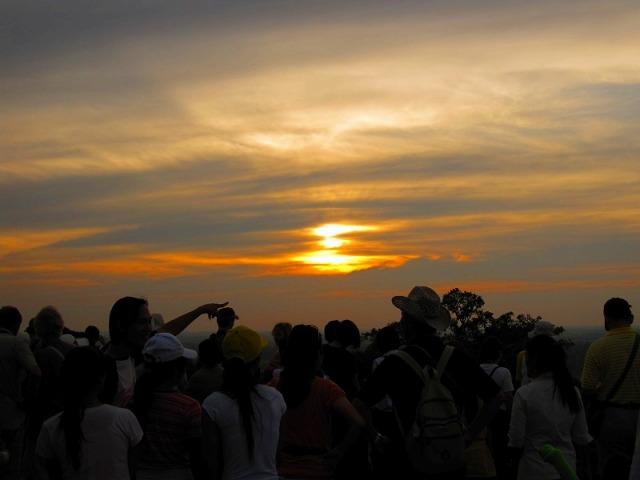 遺跡のっ頂上から見る夕日