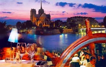 美しいパリの夜景をバックに優雅なディナーを!!