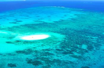 エメラルドグリーンの海と真っ白な砂浜のコントラストが美しい