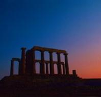 夕暮れとポセイドン神殿
