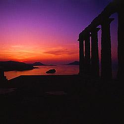 エーゲ海に沈む夕日 スニオン岬から