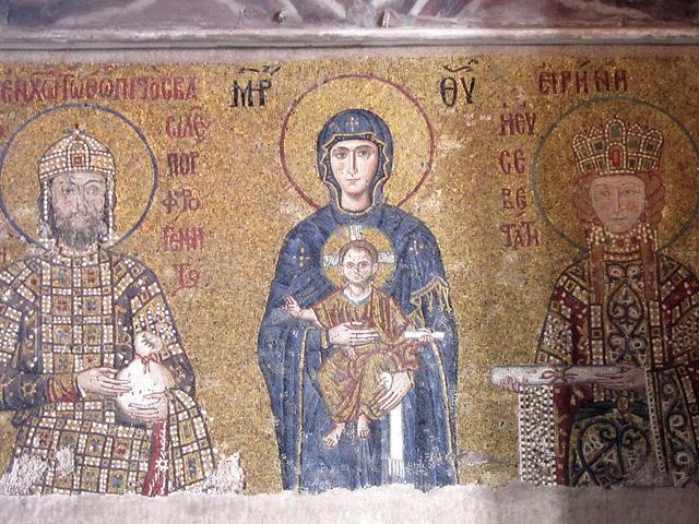 アヤソフィア モザイク画「聖母子と12世紀の皇帝ヨハネス2世コムネノス夫妻」