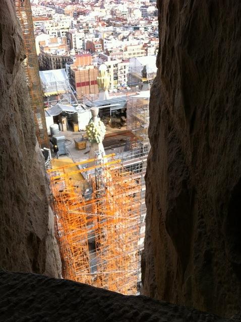 サクラダファミリアのエレベーターで上った上からの眺め