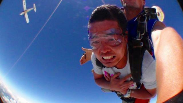 飛行機からジャンプするときが一番勇気がいるかも