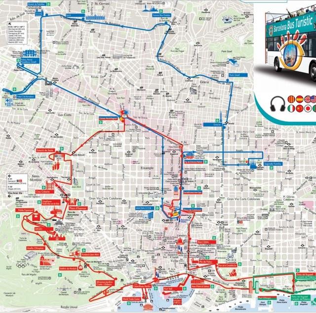 バルセロナ市内のバスルートマップ。