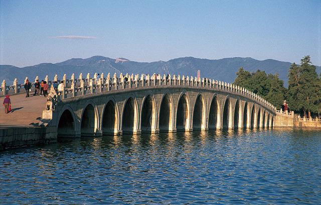 4分の3は昆明湖という水辺の景色