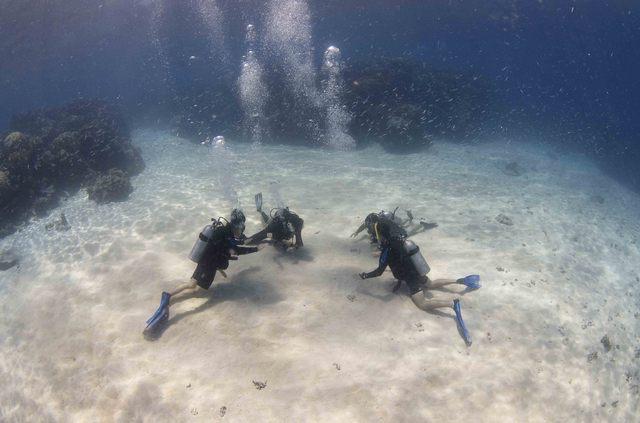 海中でスキルの練習
