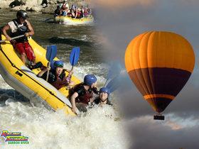 熱気球とバロン川ラフティング
