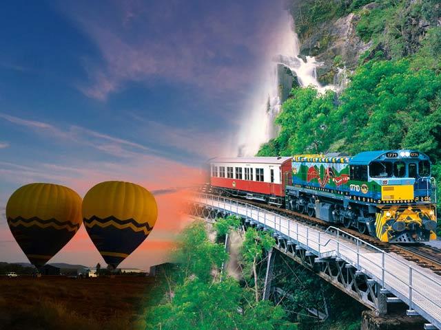 キュランダ片道列車フリーチケット付き!熱気球とキュランダ観光