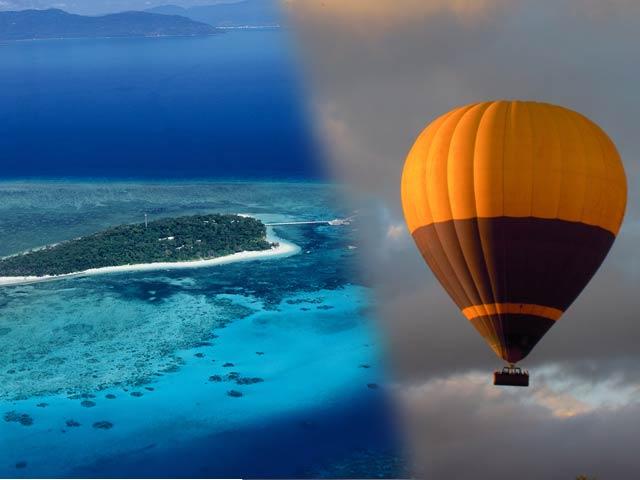 単品よりセットでお得!熱気球 午前30分飛行&グリーン島午後半日