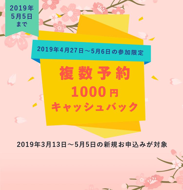 2019年5月5日までの申込が対象!クチコミ1,000円 複数割引1,000円 キャッシュバック実施中!